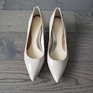 Calvin Klein Patent leather Nude kitten heels